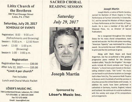Sacred Choral Reading Session